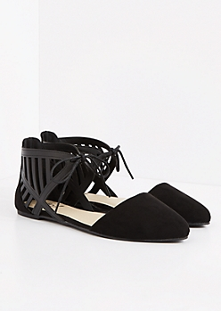 Black Cutout Pointed Toe Flat