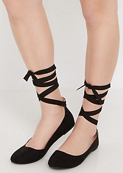 Black Microsuede Lace-Up Ballet Flat