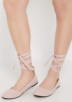 Pink Microsuede Lace-Up Ballet Flat