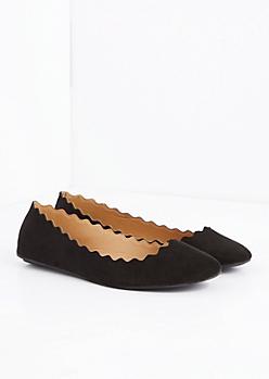 Black Scalloped Ballet Flat