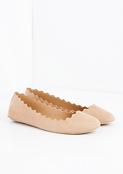 Taupe Scalloped Ballet Flat