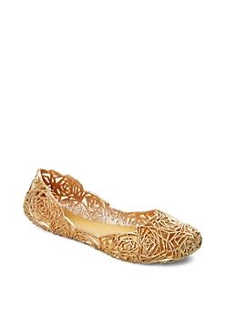 Gold Glitter Cutout Rose Jelly Flat