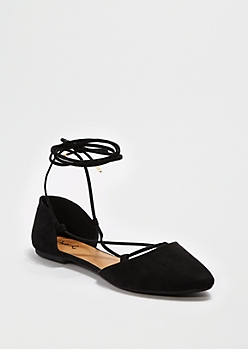 Black Strappy Ankle Flat By Qupid®