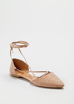 Taupe Strappy Ankle Flat By Qupid®