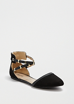 Black Bow Strappy D'Orsay Flat