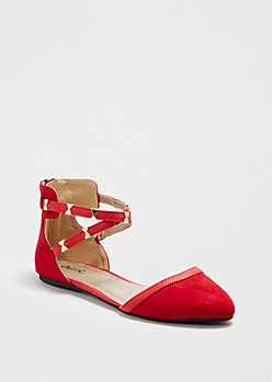 Red Bow Strappy D'Orsay Flat