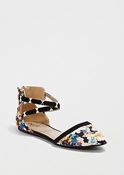 Floral Bow Strappy D'Orsay Flat