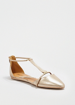 Golden T-Strap Flat By Qupid®