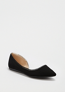 Black Scalloped D'Orsay Flat By Qupid®