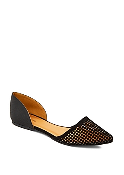 Black Pointed Toe Cutout Flat By Qupid®