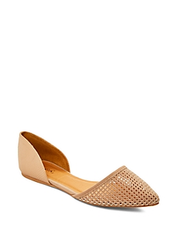 Taupe Pointed Toe Cutout Flat By Qupid®