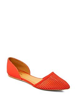 Medium Orange Pointed Toe Cutout Flat By Qupid®