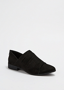 Black Strappy Pointed Toe Flat By Qupid®