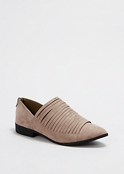 Taupe Strappy Pointed Toe Flat By Qupid®