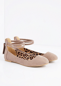 Nude Ankle Strap Ballet Flat By Qupid