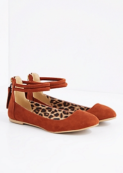 Cognac Ankle Strap Ballet Flat By Qupid