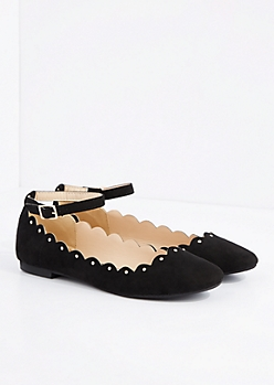 Black Scalloped Ankle Strap Ballet Flat By Qupid