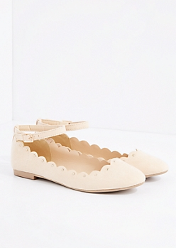 Nude Scalloped Ankle Strap Ballet Flat By Qupid