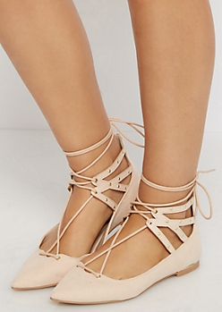 Nude Lace-Up Studded Flat By Qupid