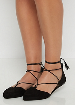 Black Scalloped Lace Up Flat By Qupid