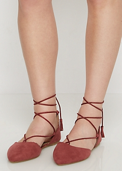 Pink Scalloped Lace Up Flat By Qupid