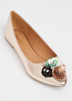Rose Gold Floral Flat By Qupid