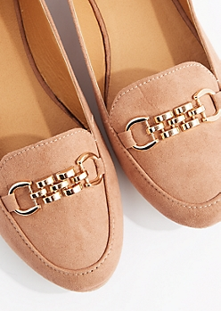 Tan Gold Chain Nubuck Loafer by Qupid
