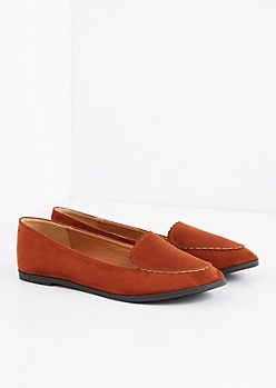Cognac Scalloped Nubuck Loafer by Qupid