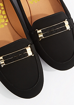 Black Gold Braid Nubuck Loafer by Qupid