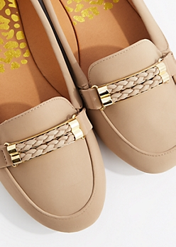 Taupe Gold Braid Nubuck Loafer by Qupid