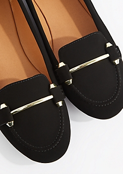 Black Gold Bar Nubuck Loafer by Qupid