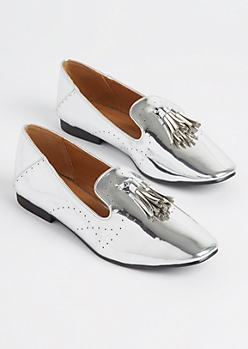 Silver Metallic Smoking Flat By Qupid
