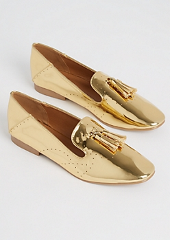 Gold Metallic Smoking Flat By Qupid
