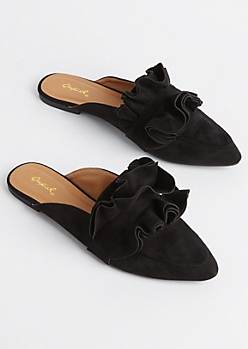 Black Ruffled Faux Suede Mule By Qupid