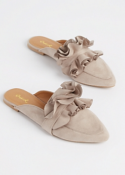 Taupe Ruffled Faux Suede Mule By Qupid