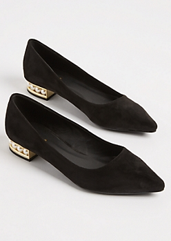 Black Faux Suede Pearl Heel Flat By Qupid