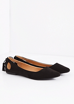 Black Caged Bow Mock Suede Flat by Qupid®