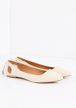 Nude Caged Bow Mock Suede Flat by Qupid®