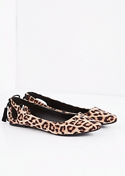 Leopard Caged Bow Mock Suede Flat by Qupid®