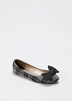 Grey Plaid Bow Toe Flat