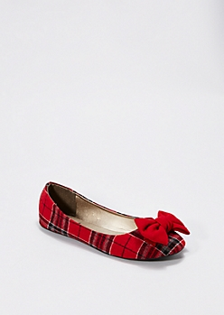 Red Plaid Bow Toe Flat