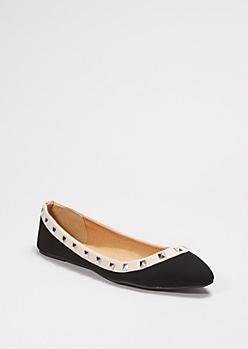 Black Studded Microgore Flat