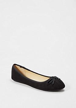 Black Pleated Bow Flat