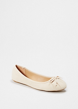 Taupe Pleated Bow Flat
