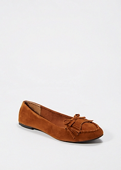 Cognac Fringed Moccasin