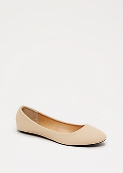 Nude Rounded Vegan Leather Flat