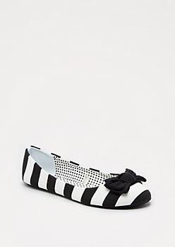Black Striped Bow Tie Flat
