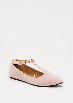 Pink Studded T-Strap Flat