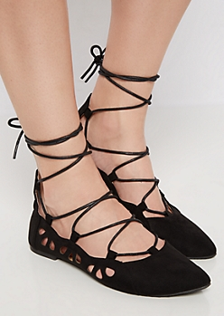 Black Lace Up Mock Suede Flat