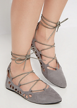 Gray Lace Up Mock Suede Flat